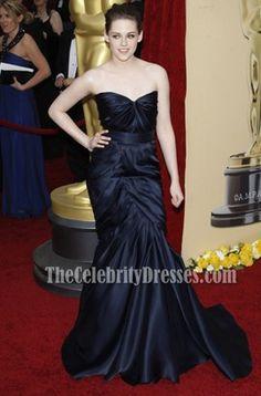 Kristen Stewart Navy Strapless Prom Gown Formal Dress 2010 Oscar Red Carpet Dresses