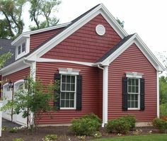 mastic vinyl siding - Russet Red with White Trim & Black Shutters