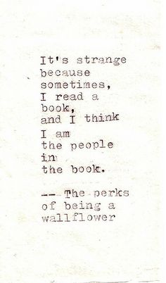 The Perks of Being a Wallflower...Charlie narrates his story by writing letters to an anonymous, random friend (the reader)...The plot is not predictable or traditional, the book is haunting, tragic, hopeful...a great read