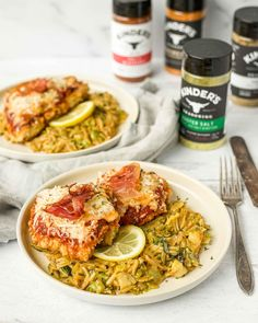 #ad A super delicious chicken parmesan recipe paired with a creamy orzo mixed with charred brussels sprouts. An easy recipe that delivers big on flavor, thanks to @kinderssauce Master Salt seasoning! #KindersatWalmart #ChickenParmesan #DinnerforTwo via @aflavorjournal