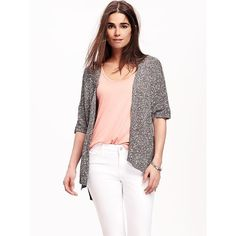 Old Navy Open Front Kimono Sweater For Women ($30) ❤ liked on Polyvore featuring tops, black, old navy tops, cotton kimono, relaxed fit tops, short tops and open front kimono