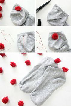 How to make pom pom socks in minutes!