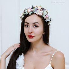 Pink floral crown Boho flower crown Flower halo Bridal flower crown Wedding flower crown Flower crown Floral hair wreath Girl flower crown