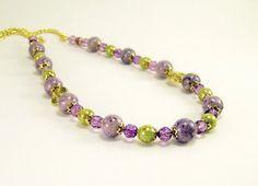 Gemstone Necklace Purple Beaded Riverstone by BobblesByCarol