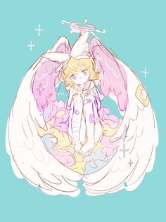 Image via We Heart It https://weheartit.com/entry/149493383/via/32259271 #angel #anime #cute #girl #kawaii #lovely #pastel #vocaloid #wings #rin #kagamine #pixivmember:ソウノ@お仕事募集中 #pixivid1046662