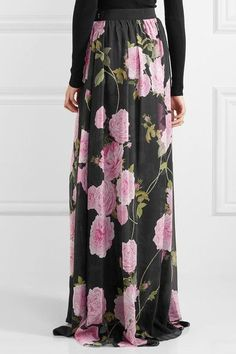 Black, pink and leaf-green silk crepe de chine Concealed hook and zip fastening at side 100% silk; lining: 50% cotton, 50% viscose Dry clean Made in Italy