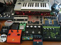 """Some guitar effects pedals, taken in Feb '05. Missing from this pic are my: Green Russian Bug Muff; Guyatone MD-3 Delay; Keeley Modded Boss TR-2; MXR Distortion+; MXR M132 Super """"Chimp""""; Marshall RG-1 Regenerator; CryBaby Wah; Maxon Phaser; Roger May Classic musical instruments"""