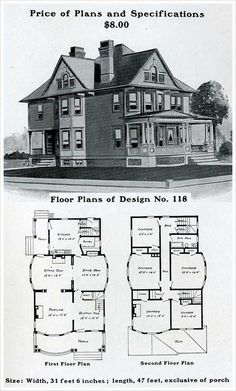 Add another bathroom upstairs to make a master and this is the house I want! ❤️ This site is incredible. Take note of the prices listed for plans and specs.and the lack of bathrooms and closets. Victorian House Plans, Vintage House Plans, Victorian Farmhouse, Victorian Homes, Antique House, Dream House Plans, House Floor Plans, House Plans With Photos, Second Empire