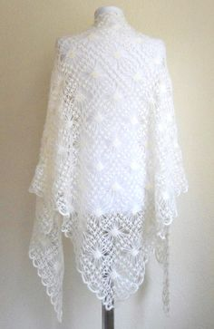 crochet shawl hand knit shawl Ivory mohair shawl by likeknitting - Stola Stricken Crochet Motifs, Crochet Shawl, Knit Crochet, Knitted Shawls, Crochet Scarves, Crochet Wedding Dresses, Diy Crafts Crochet, Bridal Shawl, Lace Scarf