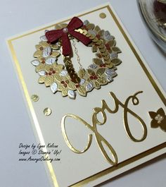 handmade Christmas card ... Wonderous Wreath heat embossed in silver and gold ... from AverysOwlery.com ... elegant look with lots of gold on ivory ... Stampin' Up!