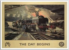 A4 Vintage Railway Poster LMS The Day Begins 1946 *BUY ONE GET ONE FREE*  A3