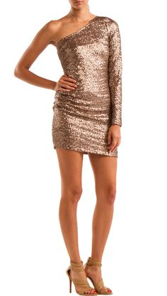 One Shoulder Sequin Dress, Taupe by YOUNG by Yoyo Yeung