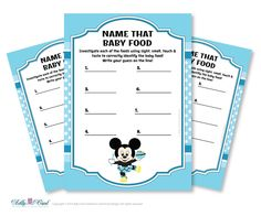 Boy Mickey Mouse Name That Food Baby Food by adlyowlpartyprints