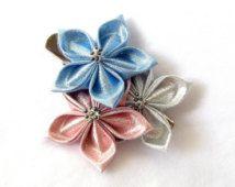 Pink and Blue Metallic Hair Flowers Tsumami Kanzashi Clip Kawaii