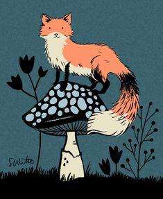 "sarah watts on Instagram: ""On the screen today. #ink #illustration #fox"""