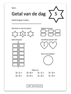 Juf Joycella | Rekenoefeningen (voor circuit) Preschool Worksheets, Craft Activities For Kids, Learning Tools, Fun Learning, School Readiness, School Hacks, Algebra, Kids Education, Pre School