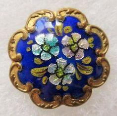 Superb Antique~ Vtg 19th C French Champleve ENAMEL BUTTON Cobalt w/ Foil Flowers