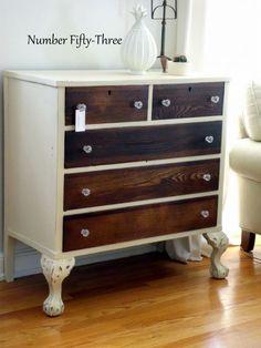 two toned antique dresser, painted furniture Two Tone Furniture, Paint Furniture, Furniture Projects, Furniture Makeover, Bedroom Furniture, Home Furniture, Furniture Repair, Furniture Websites, Kitchen Furniture