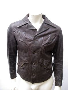 Vintage 1930s Belt Back Brown Leather Motorcycle Jacket Size MEDIUM