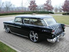 1955 Chevy Nomad Custom.... My Uncle had one like this. Minus the fancy wheels though. He had regular wheels on it. Had to sell it due to divorce.