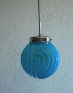 candeeiro vidro opalino azul motivos geometricos