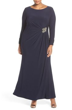 Vince Camuto Embellished Side Gather Long Sleeve Jersey Gown (Plus Size) available at #Nordstrom