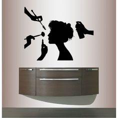 Vinyl Decal Woman Girl Getting Make Up And Hair Done Beauty Salon Style Fashion Wall Sticker