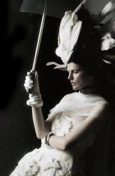Stella Tennant photographed by Karl Lagerfeld in haute couture for Harper's Bazaar, October 2008 ('Divine Duchess'). Stylist: Amanda Harlech.