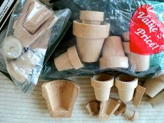 Miniature Unfinished Wooden Flower Pots and by DocksideDesignsEtc, $9.60