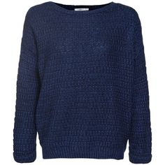 Navy Knitted Crew Neck Jumper ($30) ❤ liked on Polyvore
