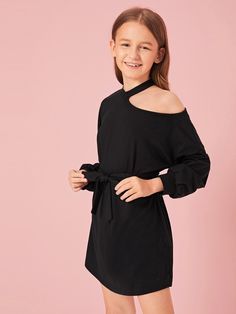 To find out about the Girls Asymmetrical Neck Bishop Sleeve Belted Dress at SHEIN IN, part of our latestGirls Dresses ready to shop online today! Dresses Kids Girl, Cute Girl Outfits, Girly Outfits, Trendy Outfits, Girls Fashion Clothes, Girl Fashion, Fashion Outfits, Cord Pinafore Dress, Jumpsuits For Girls