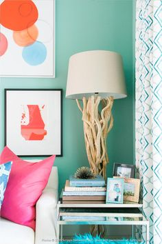 Love our Chandler Floor lamp with some of our artwork against turquoise walls. - Rebecca