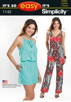 Simplicity Creative Group - It's So Easy Misses' Jumpsuit in Two Lengths  It's So Easy jumpsuit for miss can be made long with V-neck in front and back, or short with keyhole and tie.http://www.simplicity.com/p-12385-its-so-easy-misses-jumpsuit-in-two-lengths.aspx