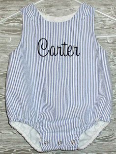 Navy seersucker monogrammed baby bubble romper.  Personalized baby outfit.  Perfect for July Fourth, beach photos, baby shower gifts... Beach Baby Embroidery