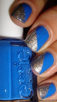 Cute blue nails with gold
