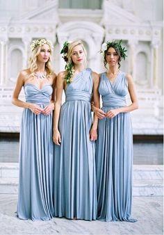 38 Beautiful Spring Bridesmaids' Dresses: convertible light sky blue bridesmaid dresses