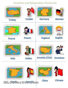 Countries and Nationalities Flashcards