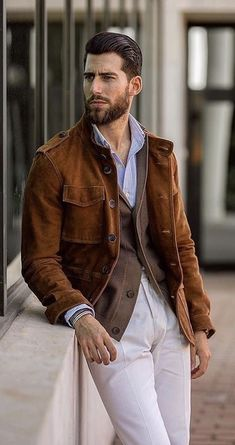 45275d01c89 Fall layering inspiration with a tobacco suede jacket brown cardigan blue  striped shirt white trousers wrist