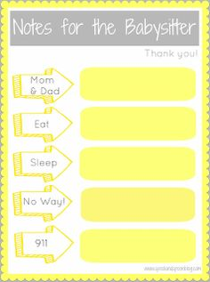 Spool and Spoon: Notes for the Babysitter {Printable}