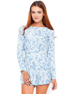 7276906cd39 Motel Molly Long Sleeve Playsuit in Blue Paisley Print