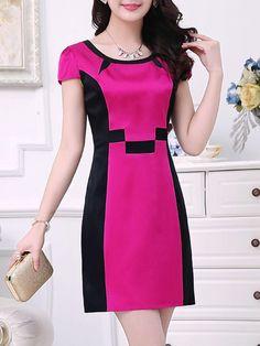 Fashionmia - Fashionmia Elegant Round Neck Color Block Bodycon Dress - AdoreWe.com