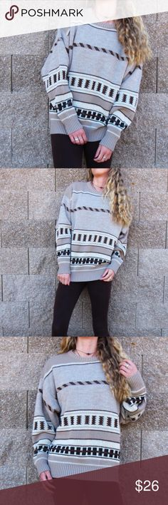 Vintage Beige Oversized Knit Pullover This lovely vintage oversized beige heavy knit sweater is in great condition. The material is soft, comfortable, and made of 100% virgin acrylic. The soft earthy colors found in this awesome pull over are tan, brown, beige, black, and cream. The vintage geometric pattern is both unique and looks great with brown/black leggings. This wont be found in any stores so get it while you can! Tag says XL would fit oversized on sizes S-L. Model size small. London…