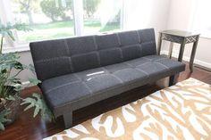 $136.74 Home Life Andrew Grey Linen With Adjustable Back Klik Klak Sofa Futon Bed Sleeper Convertible s269