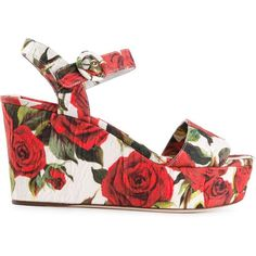 Dolce & Gabbana rose print brocade wedge sandals (6 570 ZAR) ❤ liked on Polyvore featuring shoes, sandals, multicolour, multi colored wedge sandals, ankle tie wedge sandals, wedges shoes, open toe sandals and ankle tie sandals