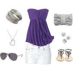 Purple Tube Top, White Shorts, Grey Clutch Purse, Heart Necklace, Bangle Bracelets & Sunglasses :) <3