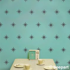 I like this for a wall pattern - hand painting, though starburst mid century wall decal pattern set vinyl art by beepart