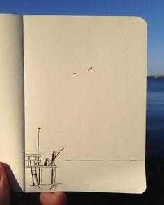"""674 Likes, 2 Comments - Daniel Frost (@danielfrostillustration) on Instagram: """"Last catch. #pier #fishing #sea #danielfrost #danielfrostillustration #sketch"""""""