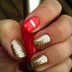 Statement Nails - Gold glitter with red accent nail.