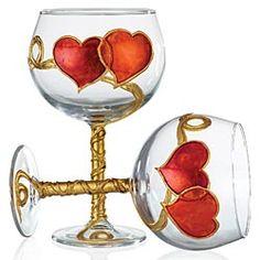 Hand-Painted Heart Wine Glass
