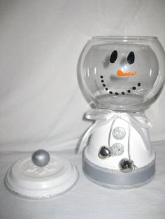 Large Snowman Candy Jar by SeasonalThings on Etsy, $20.00